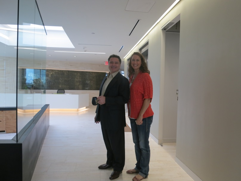 Jean-Claude Saada and Lauren Mowery check out the new lobby